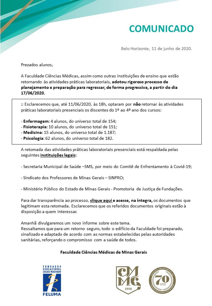 Comunicado documentos retorno atividades praticas laboratoriais